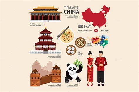 china flat icons design travel  templates