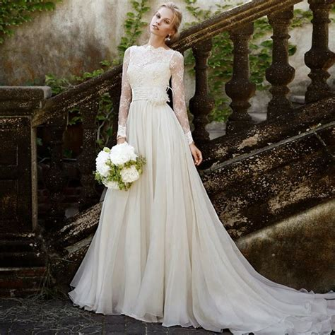 summer style chiffon beach wedding dresses  sheer lace