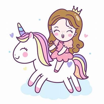 Unicorn Princess Cartoon Kawaii Unicornio Clipart Animados