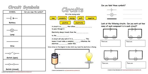 Year 9 Circuit Diagram by Electricity Circuits Worksheets Circuit Diagram 5