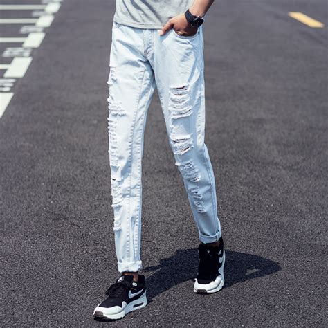 cheap light blue skinny jeans aliexpress com buy summer 2016 fashion mens jeans ripped