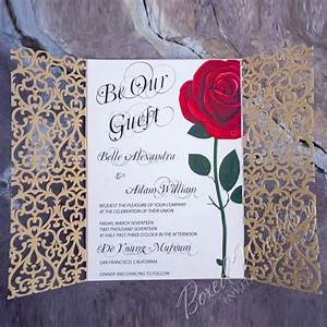 Red rose wedding invitation inspired by the beauty and the for Beauty and the beast wedding invitation template free