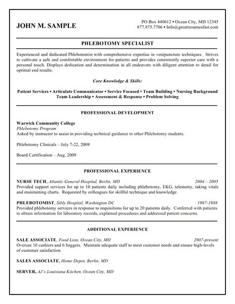 Free Phlebotomy Resume Exles by Free Printable Phlebotomy Resume And Guidelines