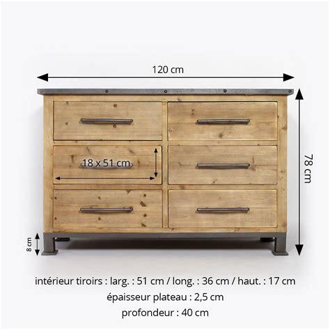 table cuisine modulable commode industrielle bois métal 6 tiroirs made in meubles