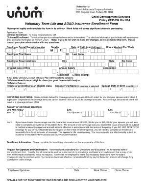Unum Voluntary Life Enrollment Form - Fill Online