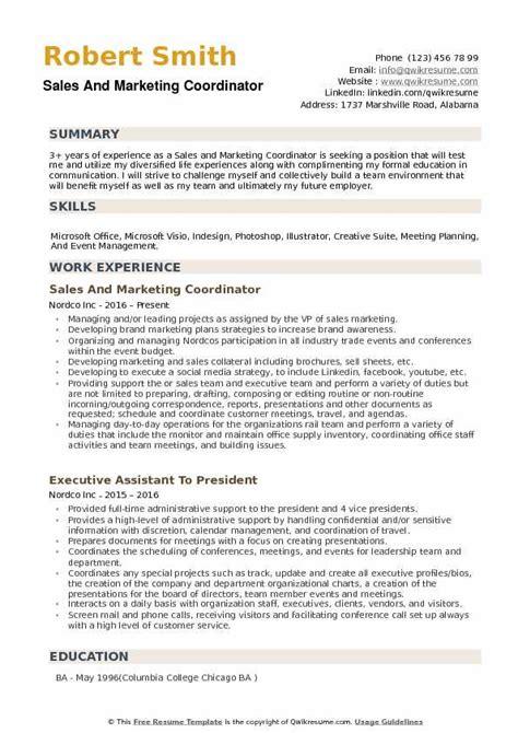 Marketing Coordinator Resume Summary by Sales And Marketing Coordinator Resume Sles Qwikresume