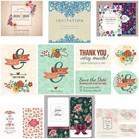 floral modern wedding invitations vector