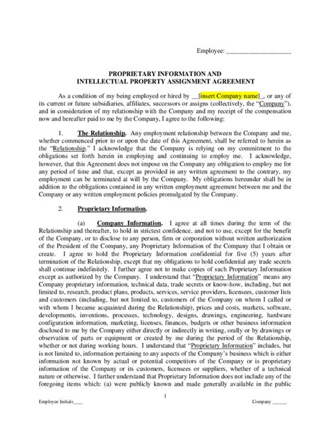 intellectual property contract template   templates