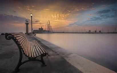 Rhodes Desktop Sunset Pink Sky Greece Bench