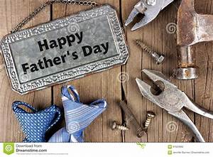 Happy Fathers Day On Wood With Tools And Ties Stock Image ...