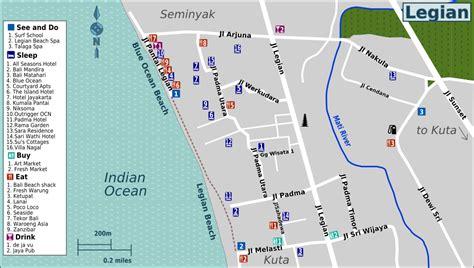 legian map kuta bali tourist information