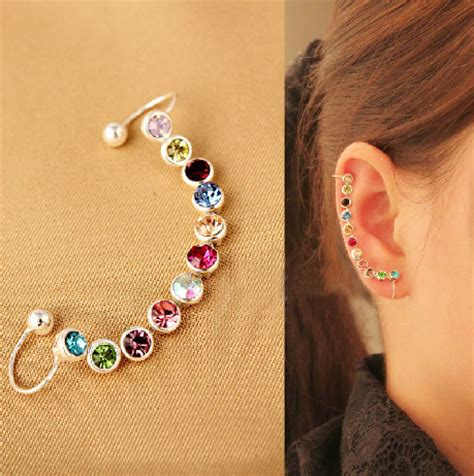 rainbow full rhinestone wrapping ear cuff single