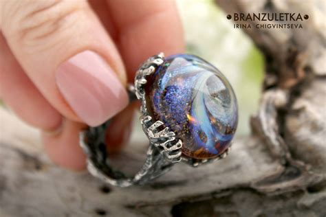 galaxy ring artisan glass cabochon lwork author s