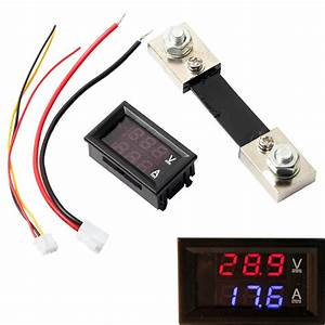 Dc 100a 100v Digital Amp Volt Meter Voltmeter Ammeter Blue Red Led Current Shunt