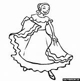 Coloring Dancing Spanish Mayo Cinco Mexican Dance Mexico Thecolor sketch template
