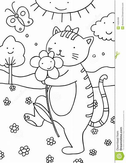Coloring Outdoors Cat Royalty Drawing