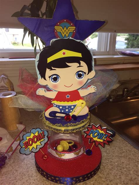 Baby Shower Centerpieces For Wonder Woman Baby Shower My