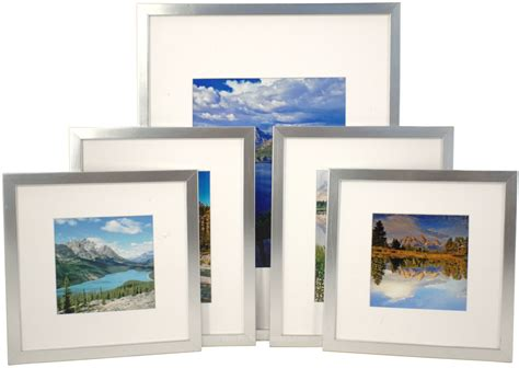 picture frame gallery set set of 5 silver matted gallery picture frames 4184