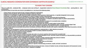research experience certificate sample choice image With clinical research experience