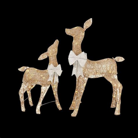 home accents 36 in led lighted gold pvc deer and
