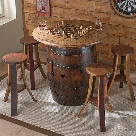 whiskey barrel game table   stools  wine enthusiast