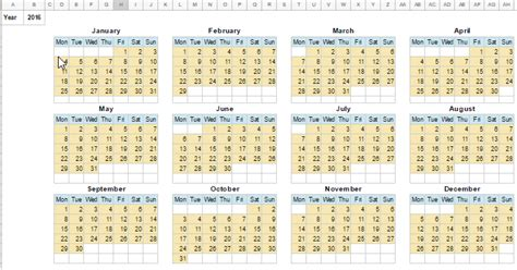 Calendar Template In Google Sheets (monthly And Yearly
