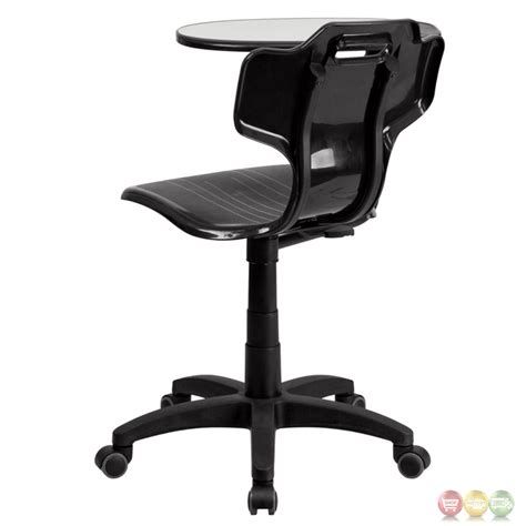 black mobile task chair with swivel tablet arm yu ycx 032 gg
