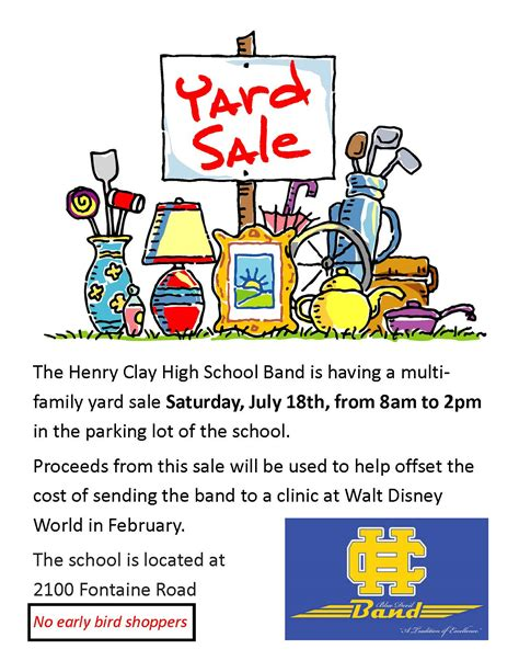 Yard Sale Flyer  Henry Clay High School Band. Visual Merchandiser Cover Letter Samples Template. 2 X 3 5 Business Card Template. Office Seating Plan Template Photo. National Western Life Insurance Template. Sterile Processing Technician Resume Example Template. Facebook Template Google Docs. Writing A Reflective Essay Template. Science Party Invitation Template