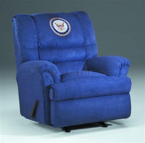 blue fabric modern rocker recliner w us navy emblem