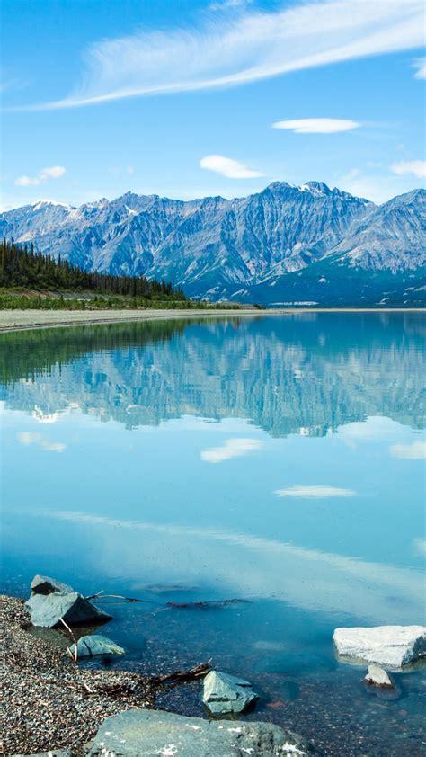 wallpaper lake shore mountains  nature