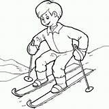 Coloring Skiing Kid Ski Coloringsky Fun Skis Some sketch template