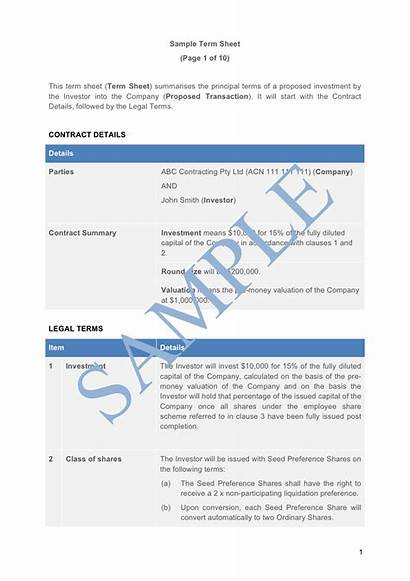Sheet Term Investor Sample Investment Template Lawpath