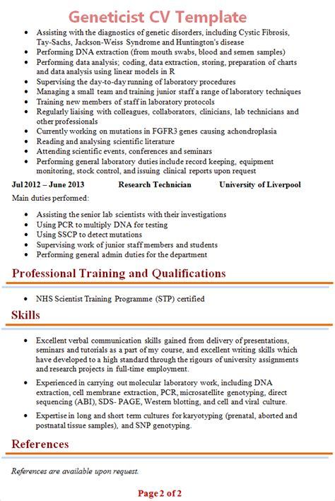 geneticist cv template