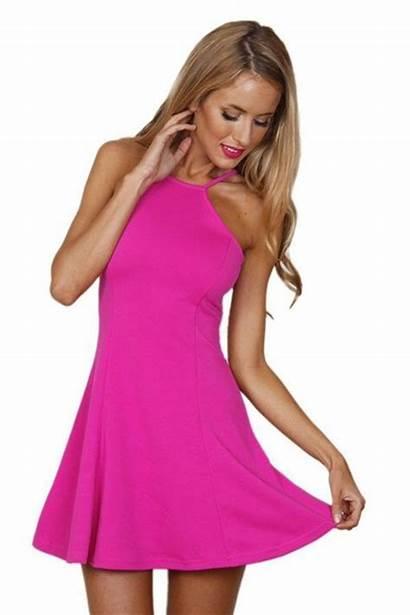 Pink Halter Neck Bright Swing Ustrendy Wheretoget