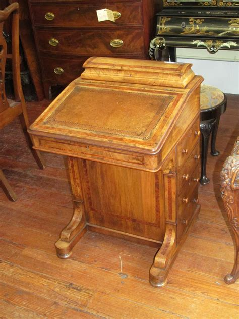 Antique English Burl Walnut And Mahogany Inlaid Davenport