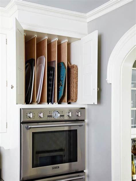 baking pan storage  traditional kitchen