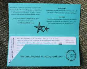 cruise wedding invitations turquoise teal anchor starfish waves yacht boarding pass wedding invitations emdotzee designs