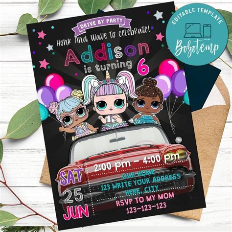 Lol Surprise Dolls Drive By Birthday Parade Invitation