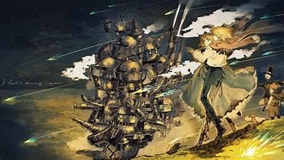 Castle Moving Howl Ghibli Studio Background Anime