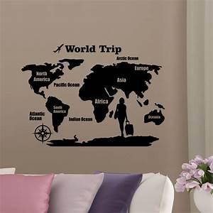 Carte Du Monde Sticker : sticker carte du monde world trip stickers citations anglais ambiance sticker ~ Dode.kayakingforconservation.com Idées de Décoration