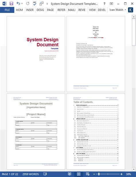 Interface Design Document Template by System Design Document Templates Requirements