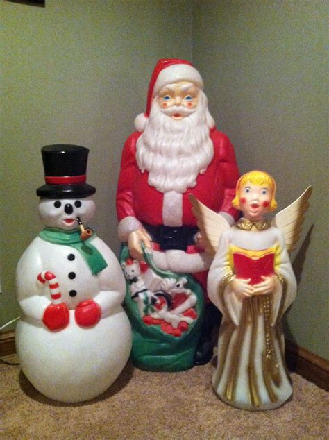 vintage outdoor lighted blow molds  santasnowman
