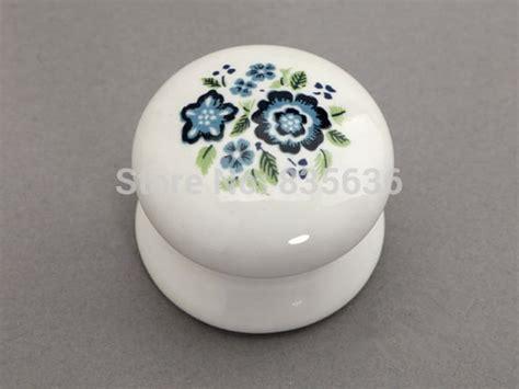 Ceramic Knobs White Blue  Shabby Chic Drawer Knob Pulls