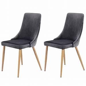 Chaise Velours Gris : chaise oscar en velours gris lot de 2 koya design ~ Teatrodelosmanantiales.com Idées de Décoration