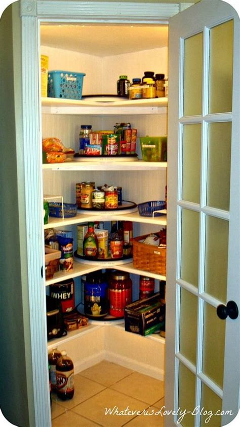 a corner pantry made from scratch in the corner walk in