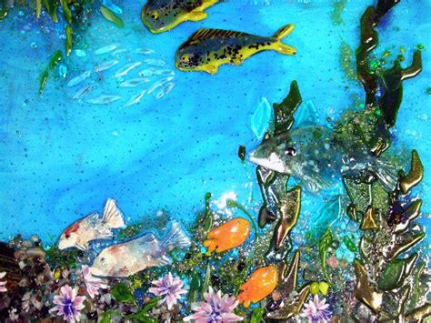 fused glass pacific coast underwater scene designer