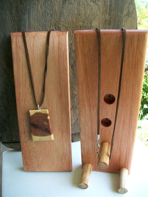 small wooden jewelry display stands  necklaces