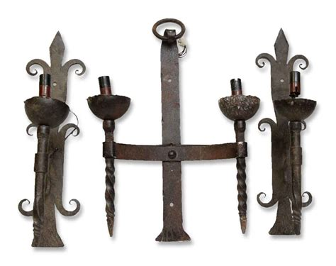 Set Of Three European Wrought Iron Wall Sconces
