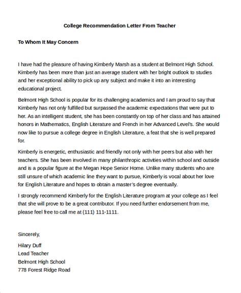 sle teacher recommendation letter 8 free documents