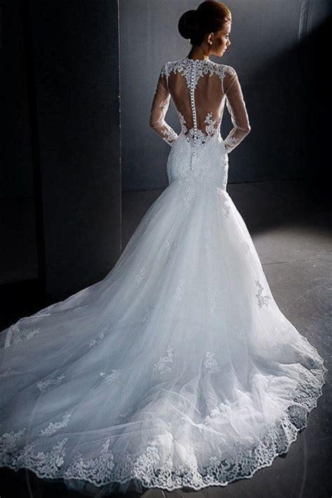robe longue dos nu mariage robe de mari 233 e sir 232 ne col montant manches longues dos nu